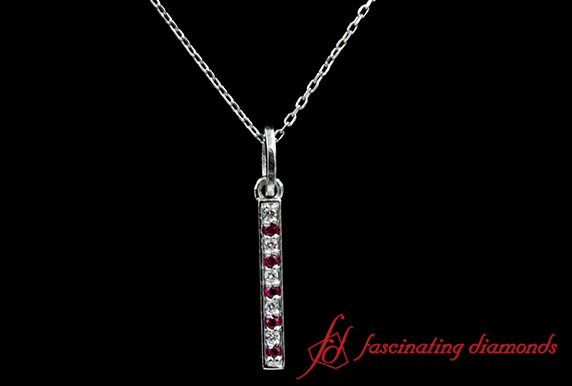 Pave Straight Bar Diamond Necklace With Ruby In White Gold