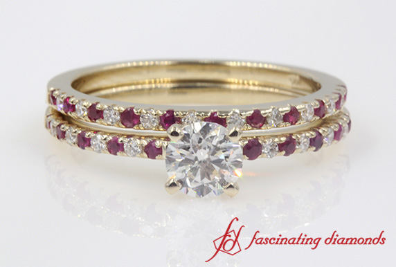Petite Pave Diamond Wedding Set With Ruby In Gold