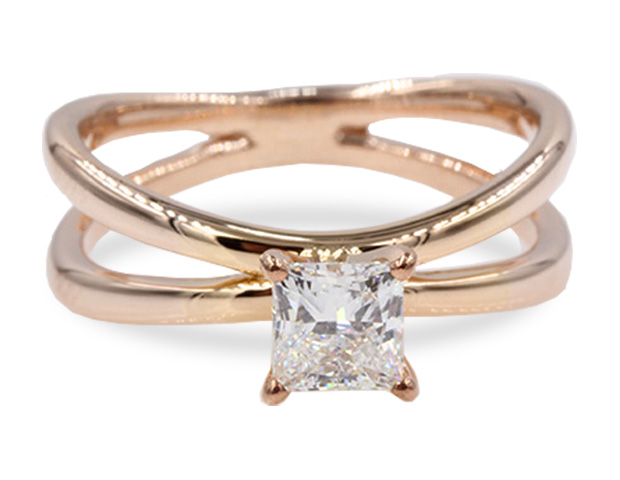 Reversed Split Solitaire Princess Cut Engagement Ring
