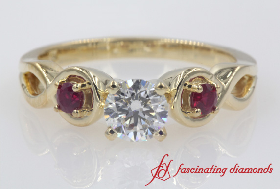 Round Cut Engraved Ruby Ring