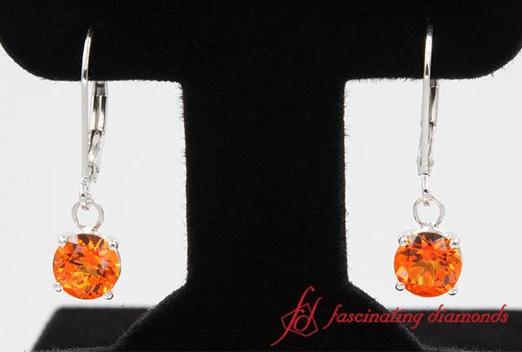 Round Cut Orange Topaz Hoop Earring