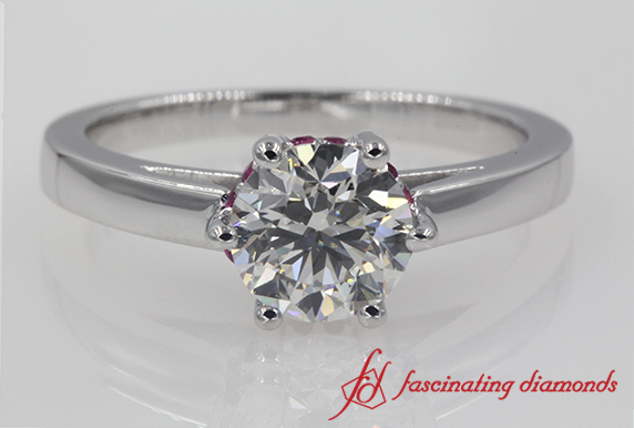 Studded 6 Prong Engagement Ring