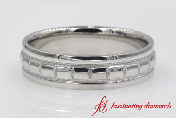 Platinum Texture Mens Band