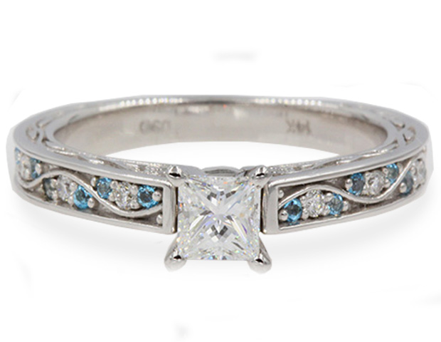 Vintage Princess Cut Pave Diamond Ring