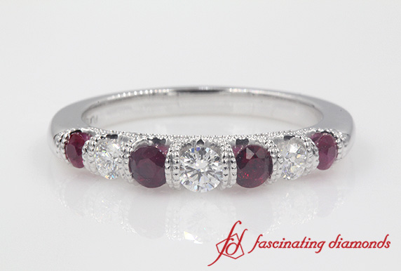 Platinum Milgrain Ruby Band