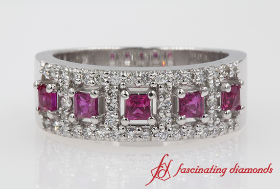 Wide Pink Sapphire Wedding Band