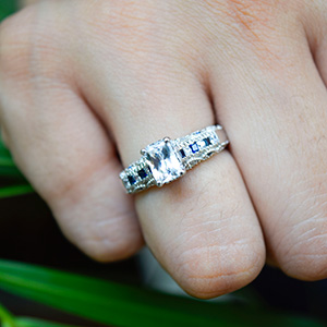Pave Diamond Antique Engagement Ring