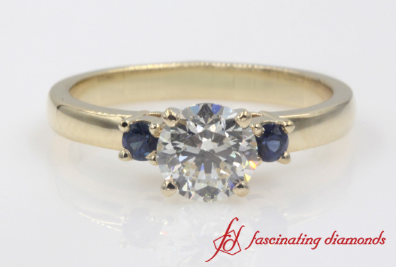 Basket Prong 3 Stone Engagement Ring With Sapphire In Gold-FDENS3106