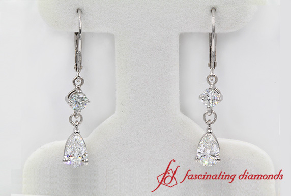 Customized Pear Diamond  Earring