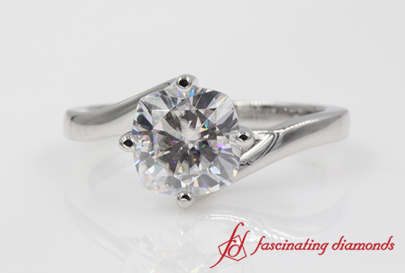 Customized Twisted Solitaire Engagement Ring In Platinum-FDENR9009ROR
