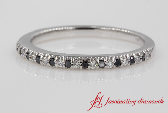 Delicate White & Black Diamond Band