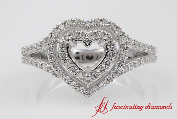 Diamond Double Halo Engagement Ring Setting In White Gold-FD1042DHR-SM