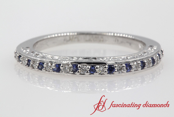 Filigree Diamond Wedding Band With Sapphire In White Gold-FD121835GSABL