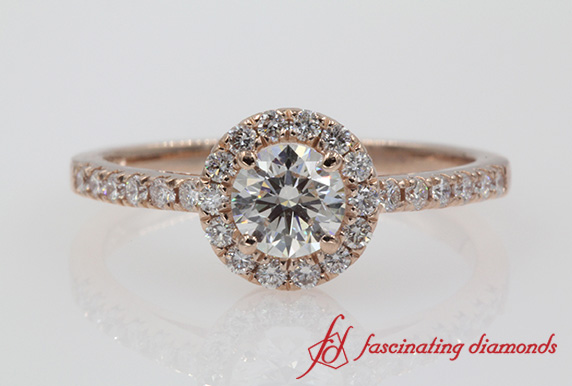 Halo Round Diamond Engagement Ring In Rose Gold