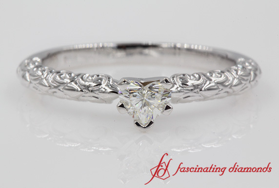 Heart Diamond Vintage Solitaire Engagement Ring In White Gold