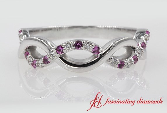 Infinity Wedding Band With Pink Sapphire