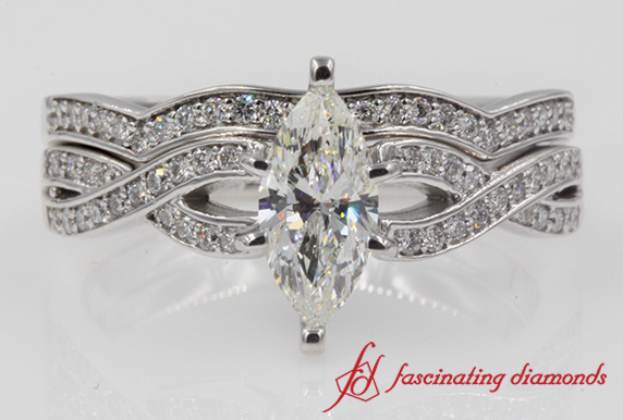 Marquise Entwined Diamond Bridal Set
