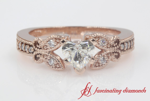 Milgrain Butterfly Diamond Women Engagement Ring In Rose Gold-FDENS3077A