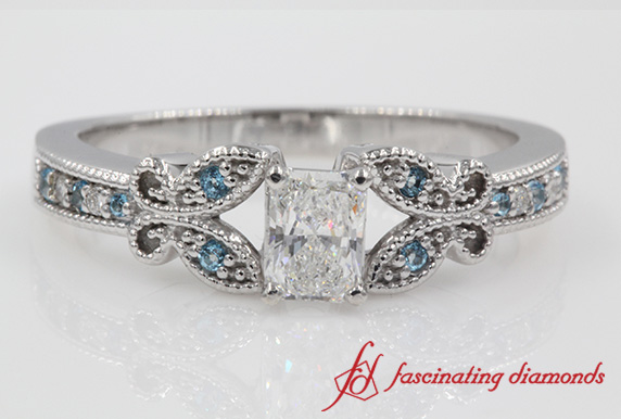 Radiant Diamond Ring With Topaz