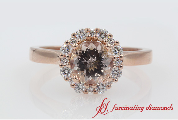 Morganite Flower Halo Engagement Ring In Rose Gold-FDENS3206CERGMOPI