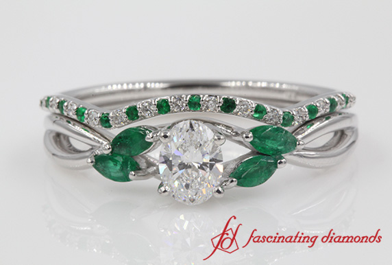 Twisted Bridal Set With Emerald