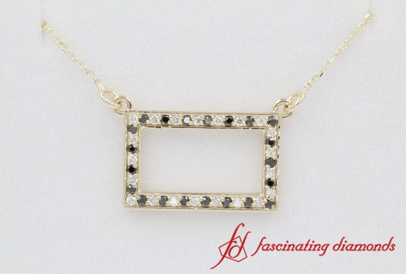 Pave Black Diamond Open Rectangle Necklace