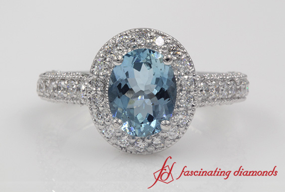 Pave Oval Shaped Aquamarine Halo Engagement Ring In White Gold-FDENR6549GAQBL