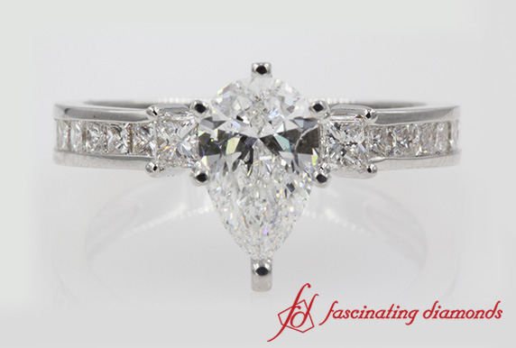 Pear Cut Channel 3 Stone Engagement Ring In 18K White Gold-FDENS3022R