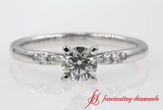 Customized Petite French Pave Diamond Engagement Ring In White Gold