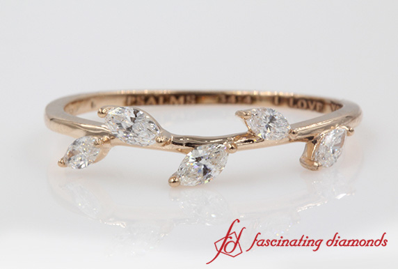 Petite Leaf Design Diamond Band