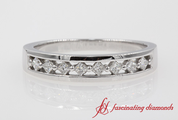 Princess Cut Diamond Bridal Anniversary Band In White Gold-FDENS3075B