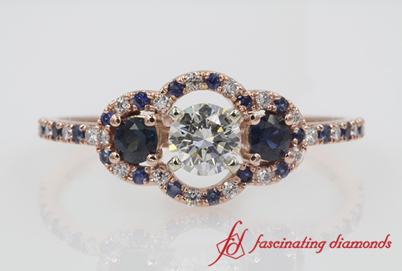 Rose Gold 3 Stone Halo Diamond Engagement Ring With Sapphire-FDENS3179RORGSABL