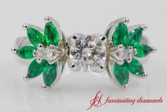 Round Diamond Floral Emerald Engagement Ring In 18k White Gold