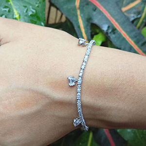 Tennis Bracelet With Diamond Charms