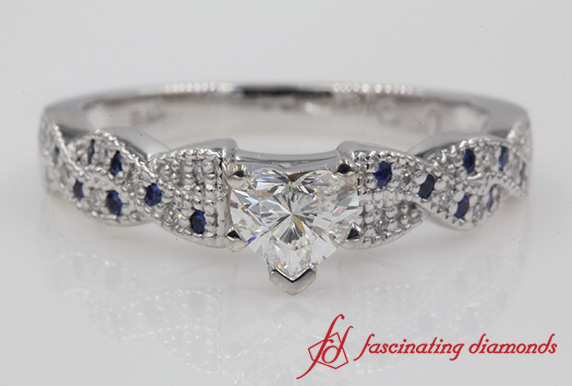 Twisted Heart Diamond Wedding Ring