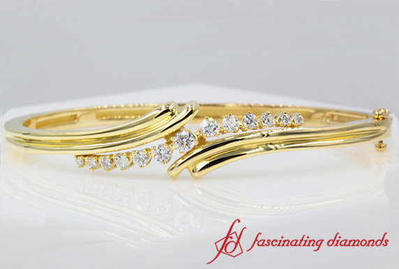 Bypass Diamond Bangle Bracelet