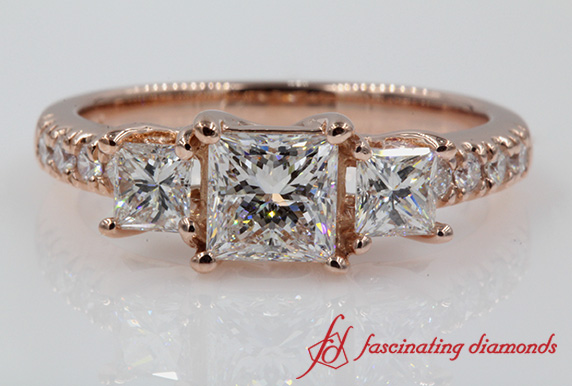 3 Stone Diamond Princess Cut Ring