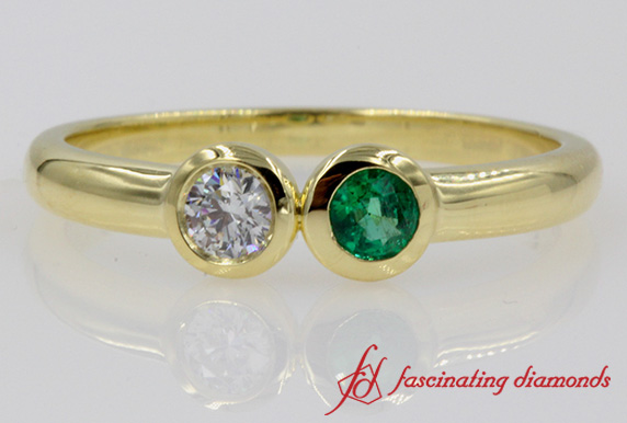 2 Stone Open Ring With Emerald