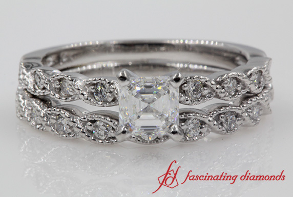 Braid Asscher Diamond Wedding Set