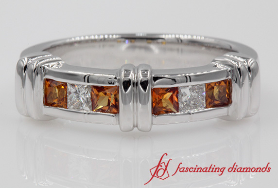Bar Orange Sapphire Band