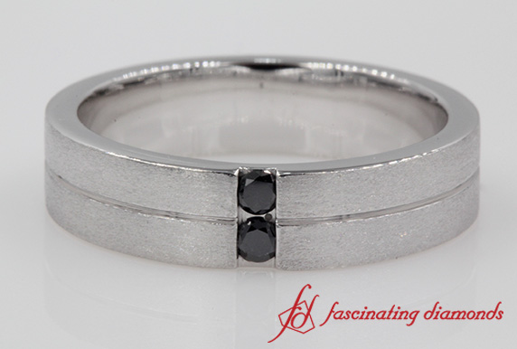 Channel Set Black Diamond Mens Wedding Band In White Gold