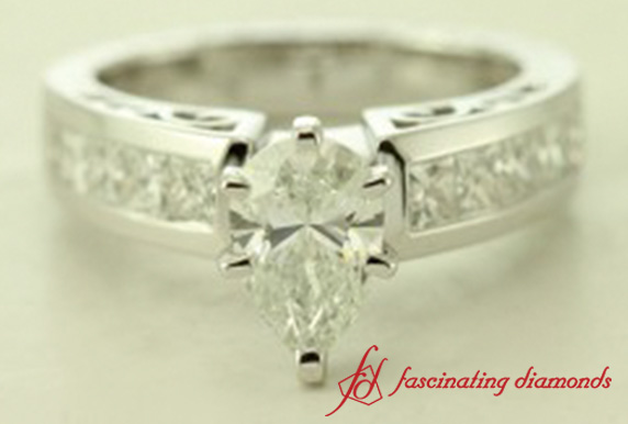 Channel Set Pear Diamond Side Stone Ring In 18k White Gold-FDENR2640