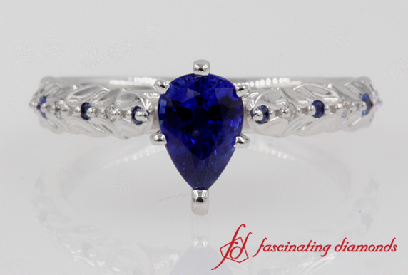 Customized Pear Cut Sapphire Engagement Ring In 18k White Gold