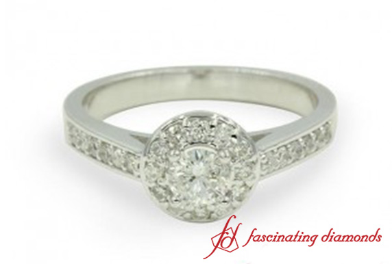 Cathedral Pave Halo Diamond Ring