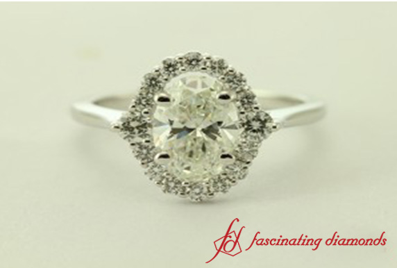 Floral Prong Diamond Engagement Ring