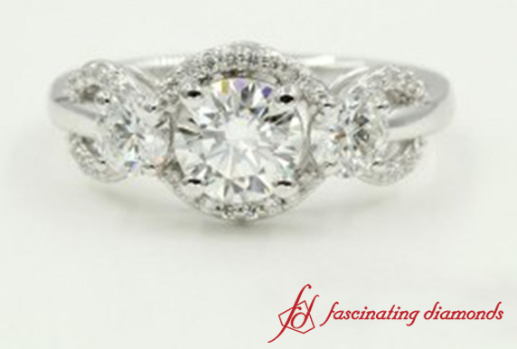 Pave Prong Set Diamond Ring