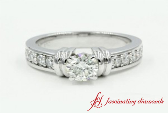 Bar Set Round Cut Engagement Ring