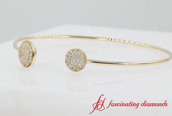 Round Diamond Open Cuff Bracelet