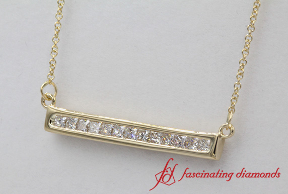 Princess Cut Bar Diamond Pendant