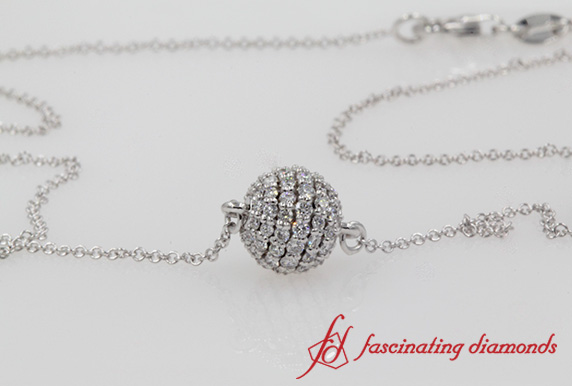 Pave Ball Diamond Pendant